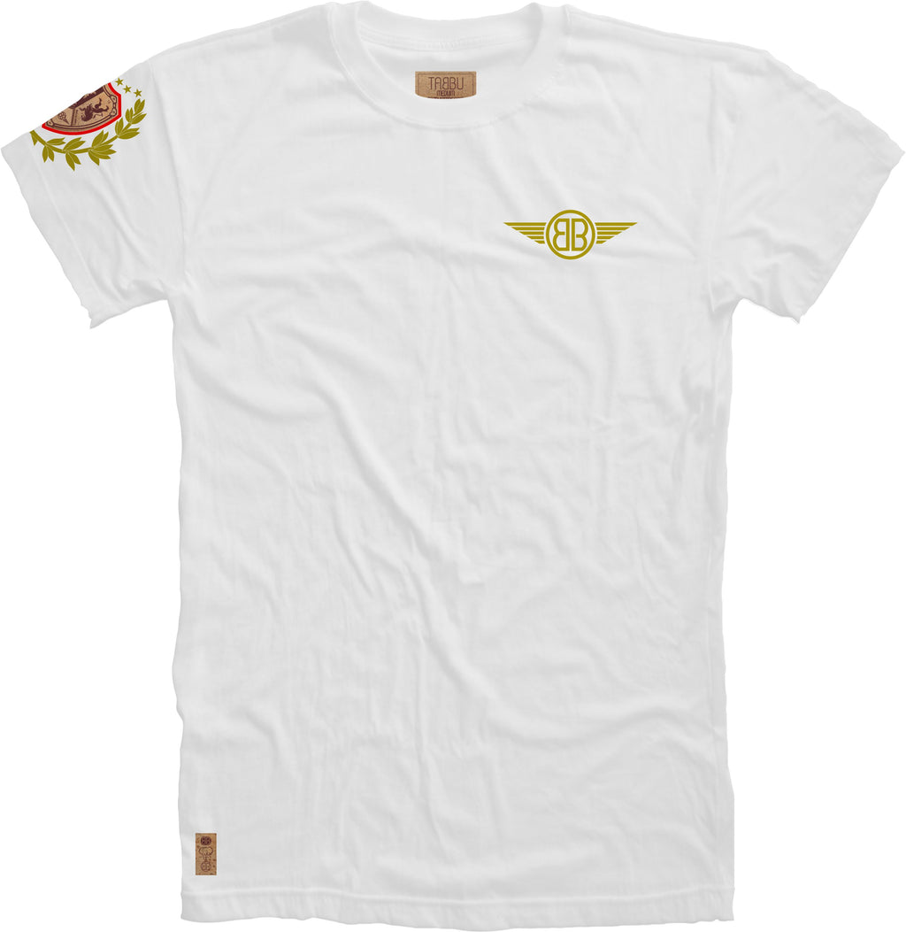 Lion Cork Shield Crewneck Tee in White with Red/Gold Embroidery