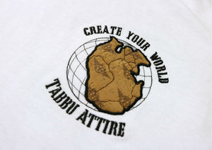Create Your World Short Sleeve Tee- White/Black Embroidery