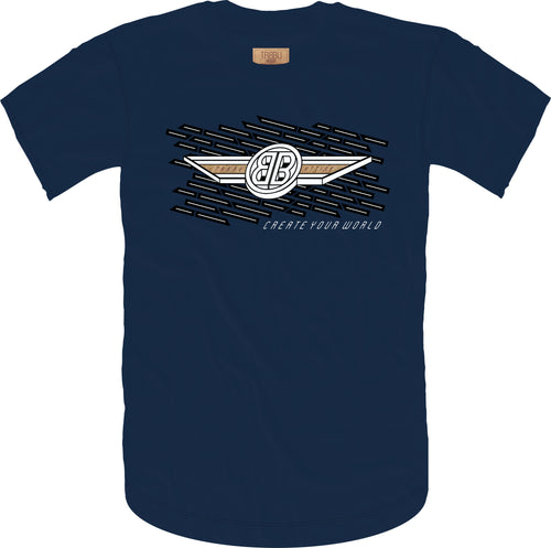 B Wing Cork Insert Short Sleeve Tee- Navy