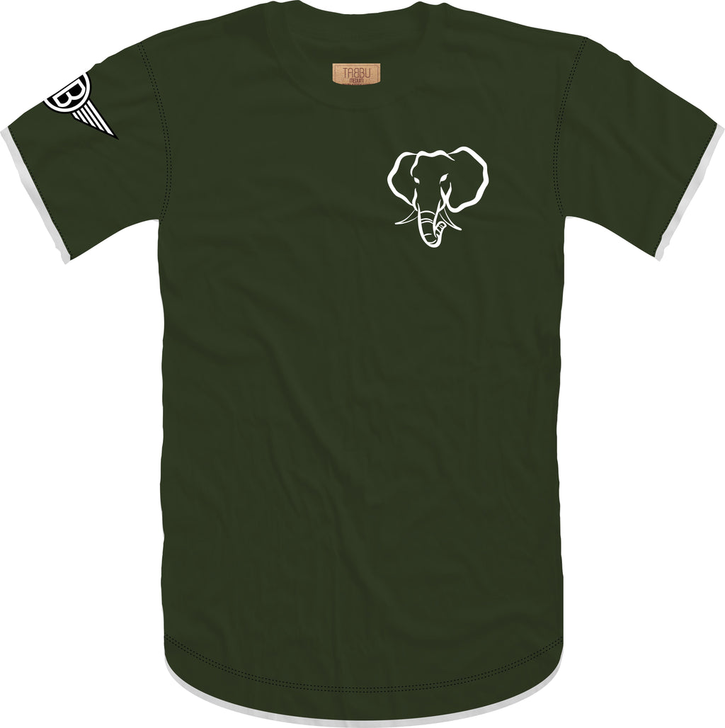 Oversized Elephant Head 2.0 Crewneck Tee in Military with Black/White Embroidery