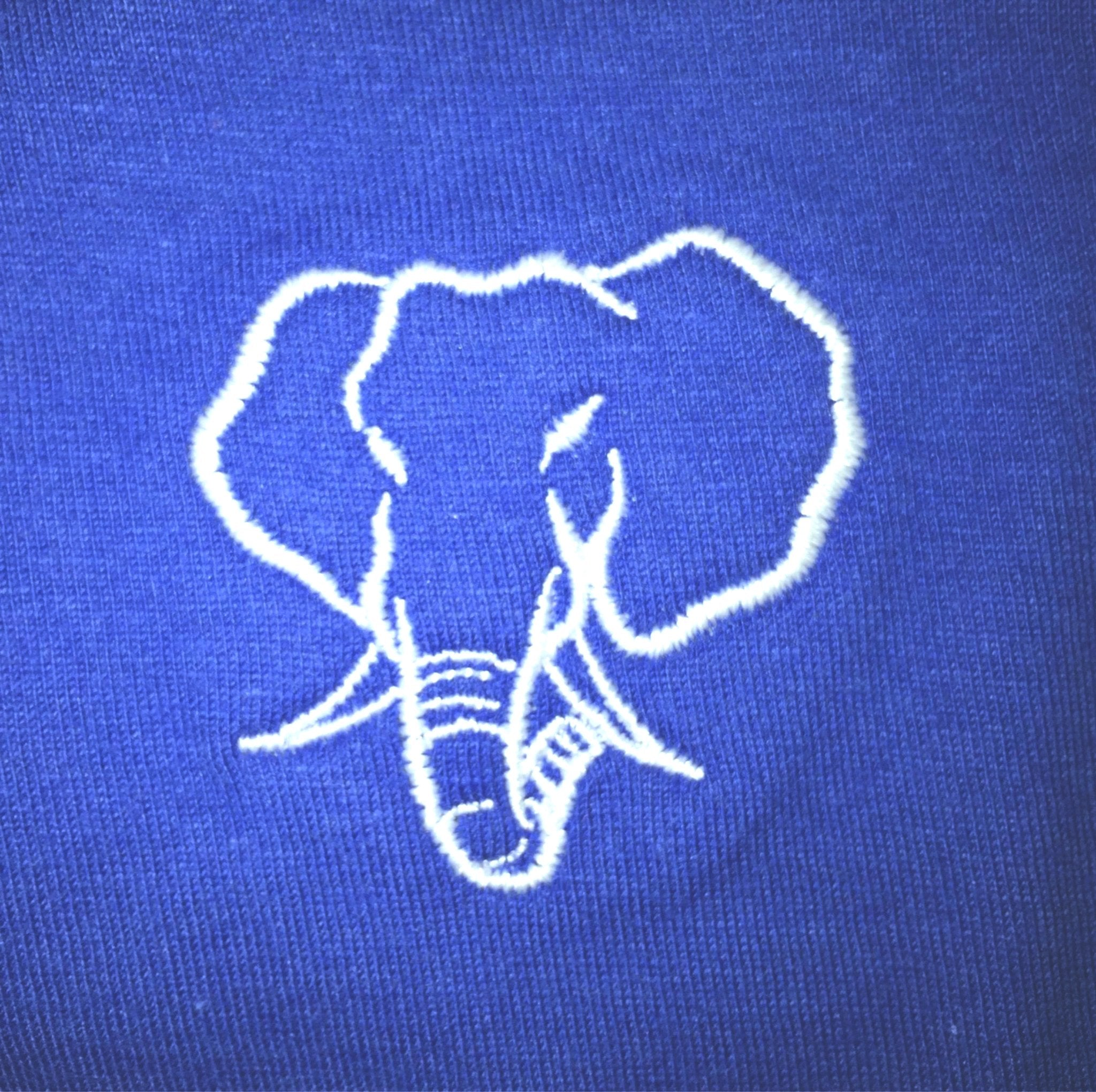 Elephant Head Crewneck Tee in Royal with White Embroidery