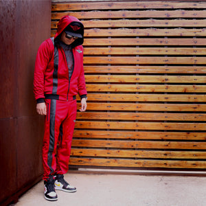 Black Stripe Pants in Red