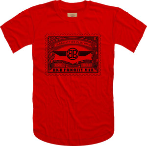 Tabbu Mail Stamp Short Sleeve Tee- Red