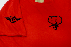 Oversized Elephant Head Tee in Red with Black Embroidery