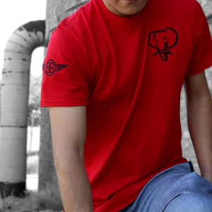 Oversized Elephant Head Tee-Red/Black