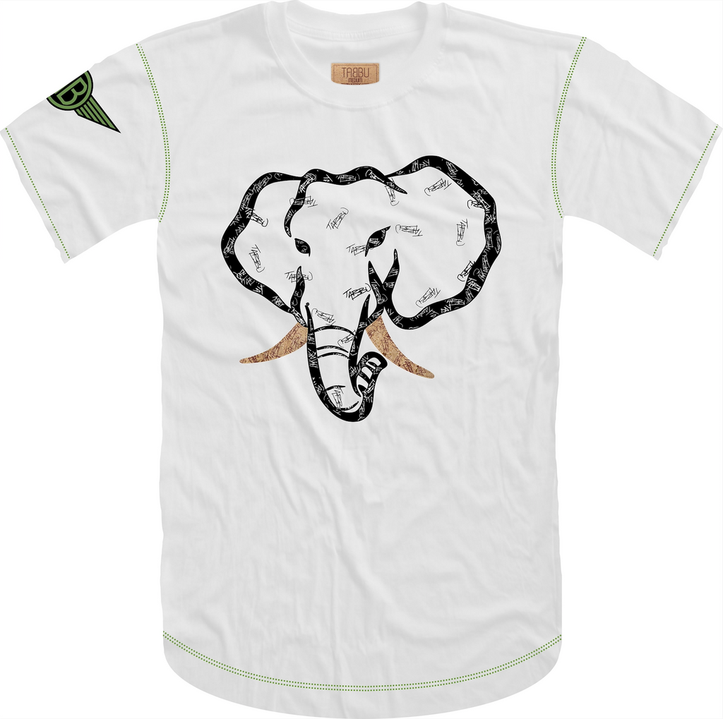 Handwritten Elephant Trunk Insert Short Sleeve Tee- White/Black With Green Accents