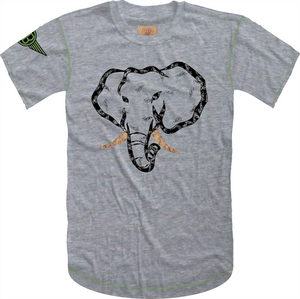 Handwritten Elephant Trunk Insert Short Sleeve Tee- Heather Grey/Black with Green Accents