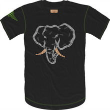 Load image into Gallery viewer, Handwritten Elephant Trunk Insert Short Sleeve Tee- Black/Grey with Green Accents