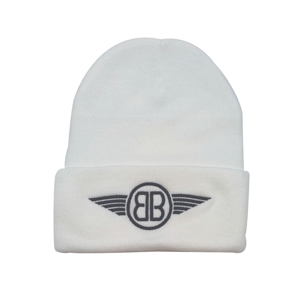 Beanie B Wing Logo in White with Black Embroidery