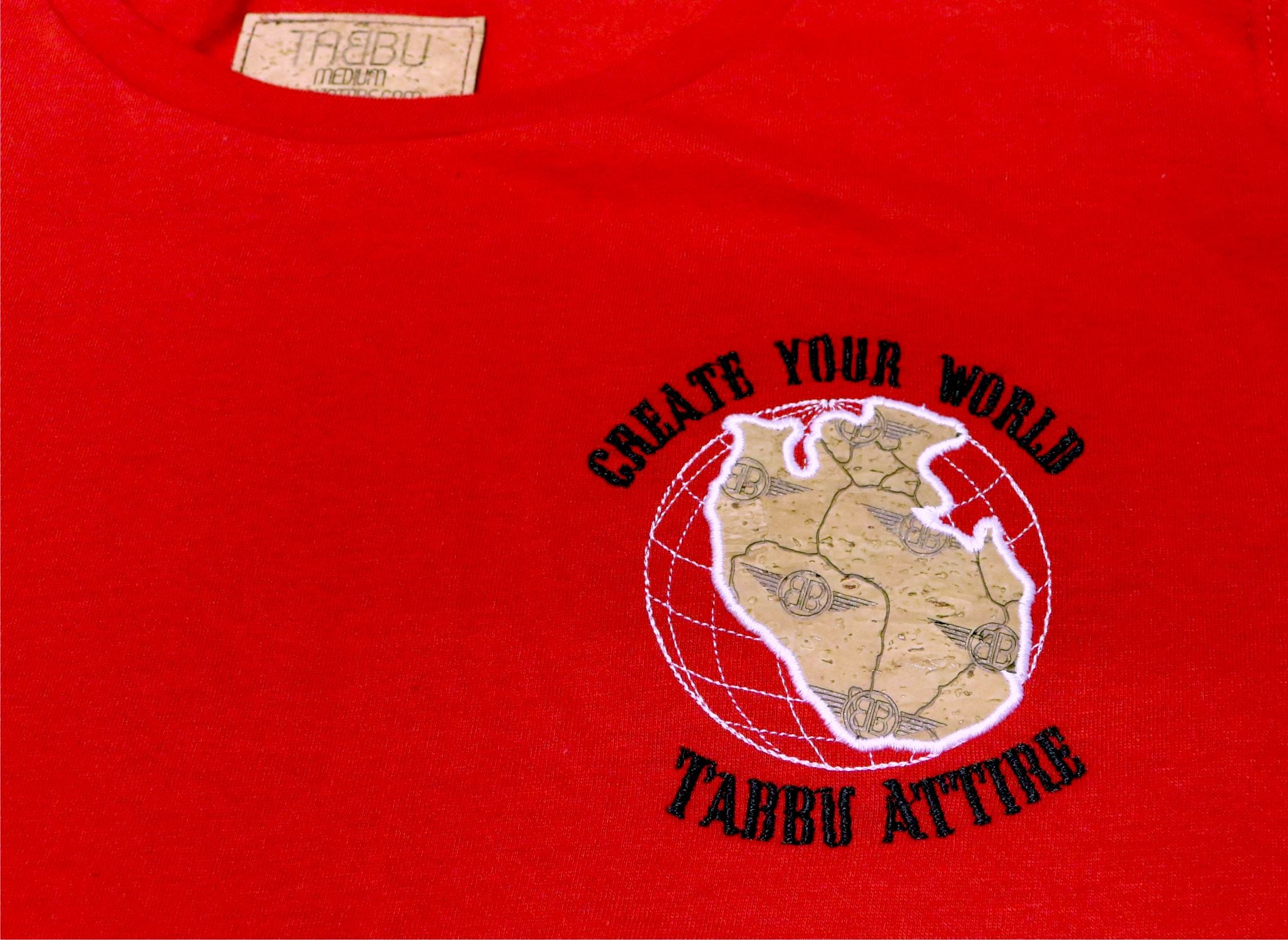 Create Your World Short Sleeve Tee- Red/Black White Embroidery