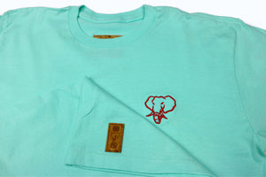 Elephant Head Crewneck Tee in Celadon with Red Embroidery
