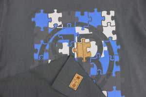 Puzzle Insert Crewneck Tee in Charcoal