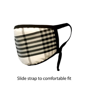 .Cream Plaid Adjustable Strap