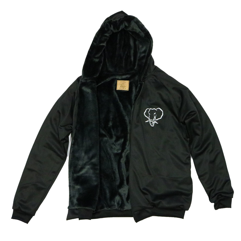 Elephant Head Fur Lining Heavyweight Jacket-Black/White