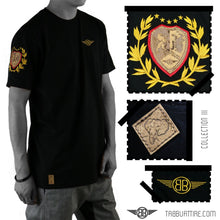 Load image into Gallery viewer, Lion Cork Shield Crewneck Tee in Black with Red/Gold Embroidery