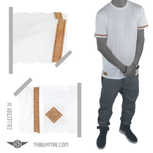 Cork Stripe Crewneck Tee in White