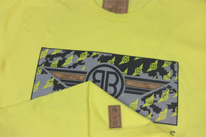F.R.M Cork Insert Crewneck Tee in Lemon