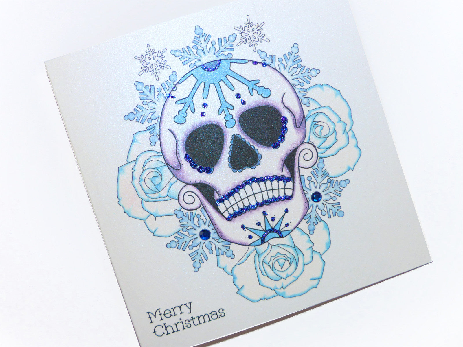 a26ed643d07c5 Frosted blue rose Day of the Dead sugar skull tattoo handmade Christmas card