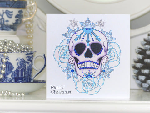 Vickilicious designs handmade alternative christmas cards frosted blue rose day of the dead sugar skull tattoo handmade christmas card m4hsunfo