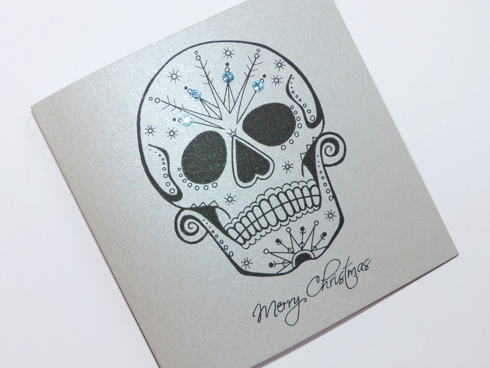 ccdcfeee31722 ... Frosted day of the dead sugar skull tattoo handmade christmas card
