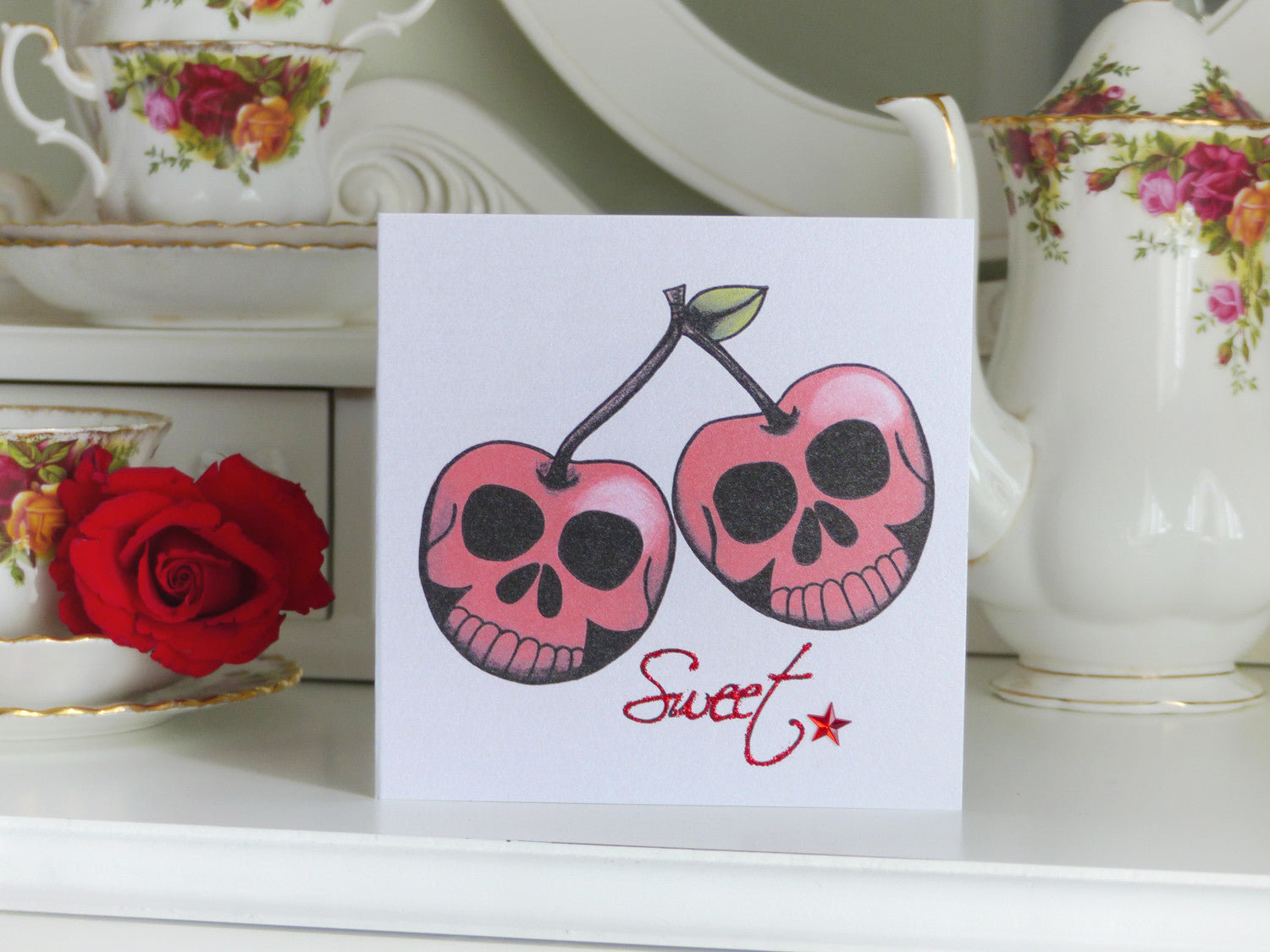 Handmade Valentine S Card Sweet Skull Cherries Tattoo