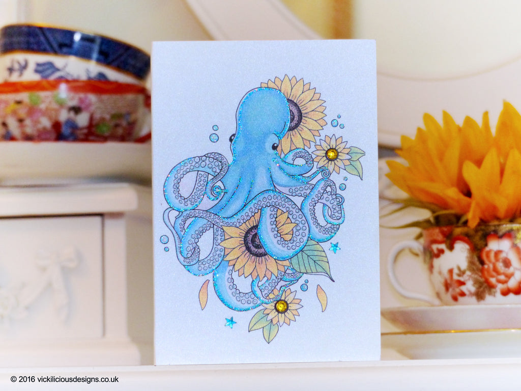 Super Handmade Birthday Card Underwater Gardener Octopus And Sunflower Funny Birthday Cards Online Fluifree Goldxyz