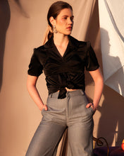 "Load image into Gallery viewer, Black Short Sleeve Silk ""Vintage"" Blouse"