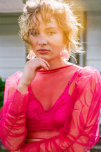 Load image into Gallery viewer, The Tulle Puff Blouse - Hot Pink