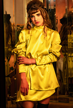Load image into Gallery viewer, Chartreuse Silk Asymmetrical Dress