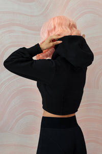 The Black Cropped Hoodie