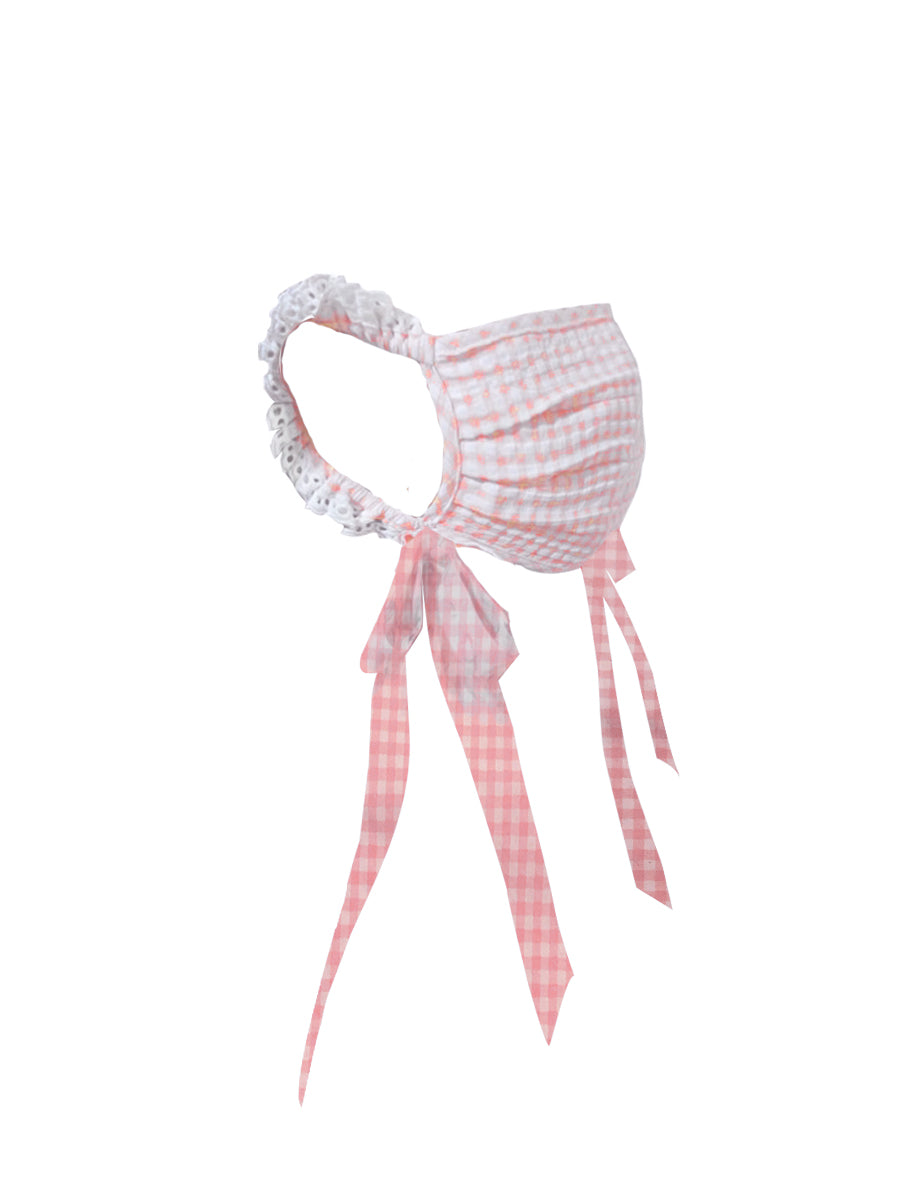 The Pink & White Gingham Victorian Mask