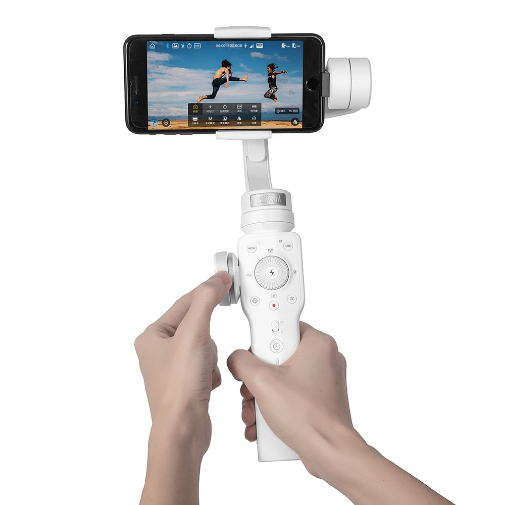 Handheld 3 Axis Stabiliser Gimble w/Focus Pull & Zoom for iPhone, Android