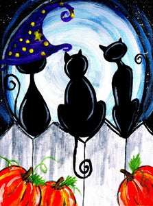 Halloween Cats on the Fence