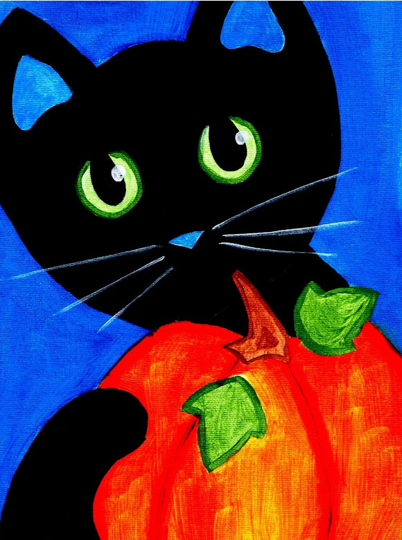 Halloween Cat with Green Eyes