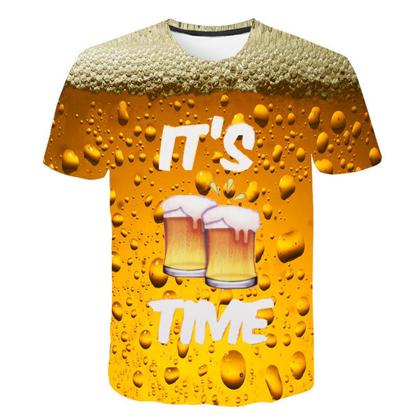 Men's 3D Beer Bubble Short Sleeve T Shirts - CTHOPER