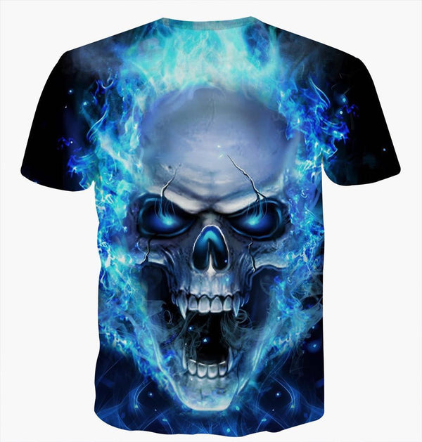 Men's 3D Skull Printed Plus Size Short Sleeve T Shirts - CTHOPER