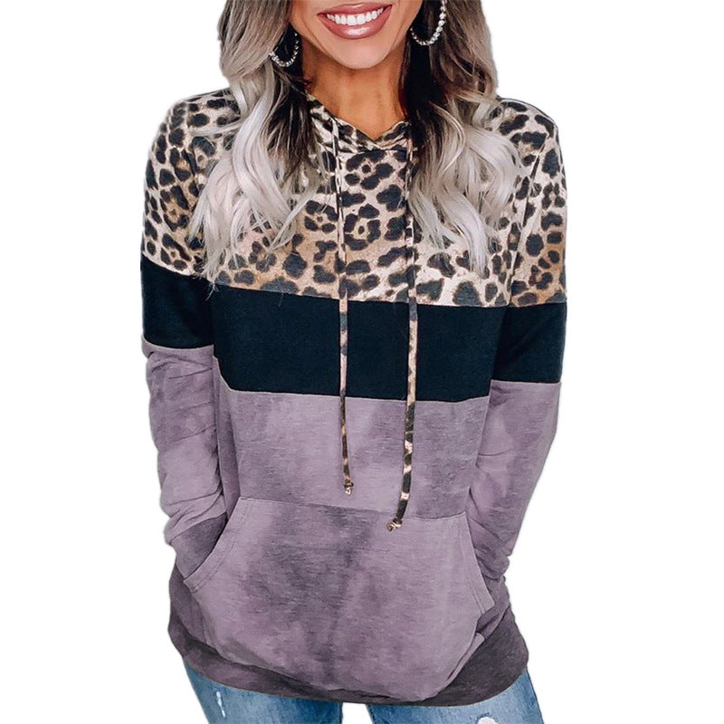 Women's Winter Leopard Hooded Long Sleeve Oversize Sweatshirts & Hoodes Loose Boho Pullover