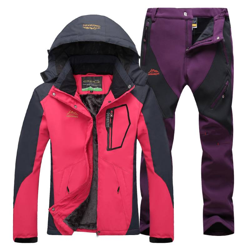 Women's Winter Skiing Waterproof Jackets and Pants Set - CTHOPER