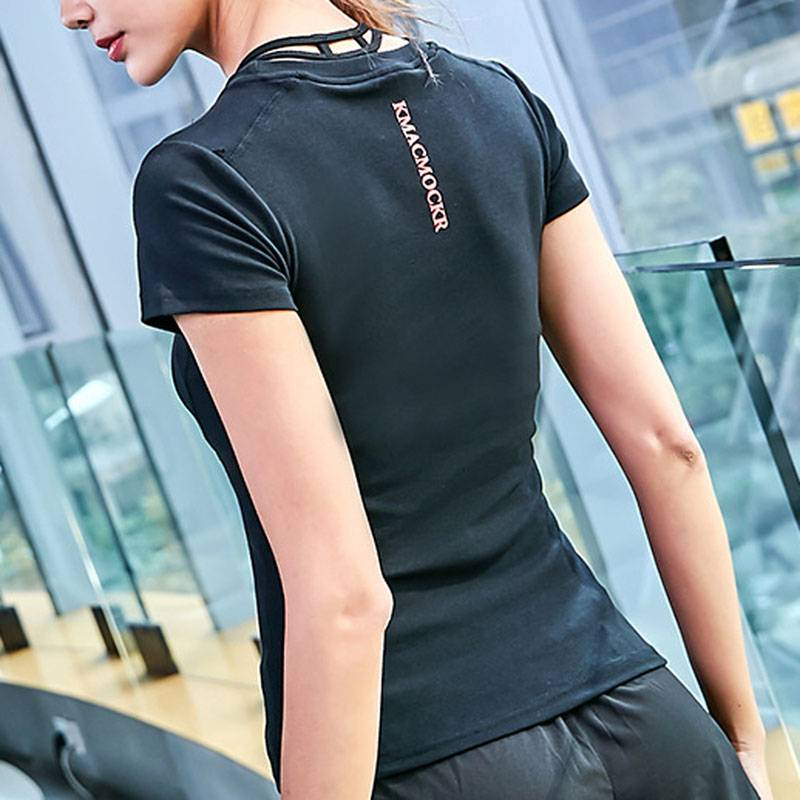 Women's Short Sleeve Workout Yoga T Shirt - CTHOPER
