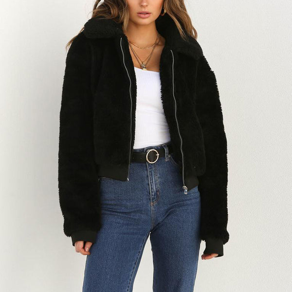 2019 Women Winter Cotton Fluffy Long Sleeve Coat Jacket - CTHOPER