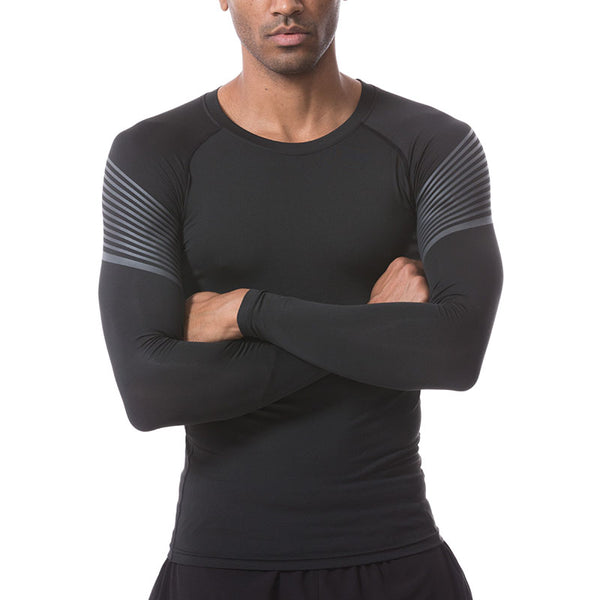 Men's Sport Long Sleeve Stripe T Shirts - CTHOPER