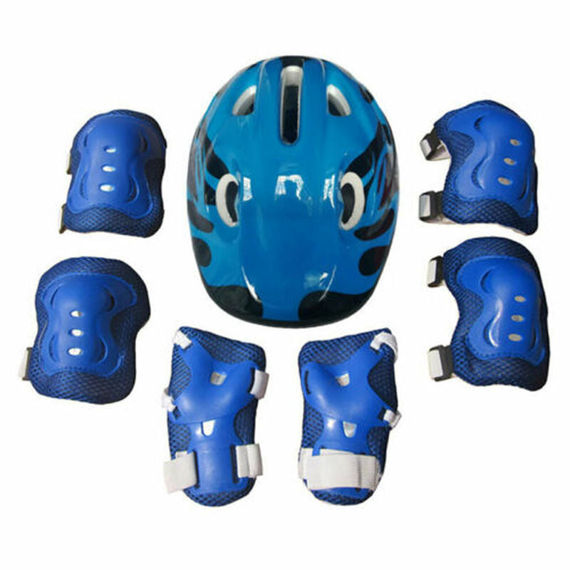 7PCS Kids Helmet Knee Elbow Pad Set Protective Gear Skate Cycling Bike Safety