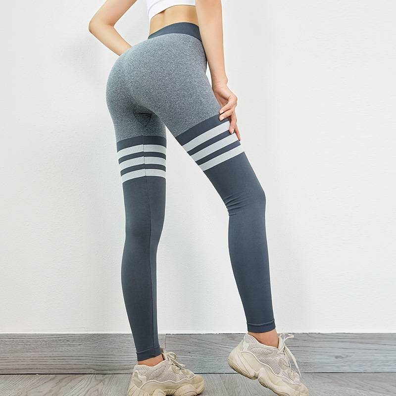 Women's High Waist Striped Leggings - CTHOPER