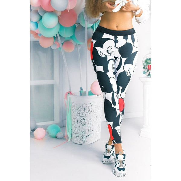 Women Minnie Mickey Mouse Yoga Gym Leggings - CTHOPER
