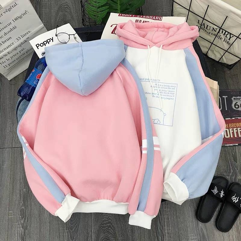 Women Plush Cute Bear Print Long Sleeve Hoodie Sweatshirts - CTHOPER