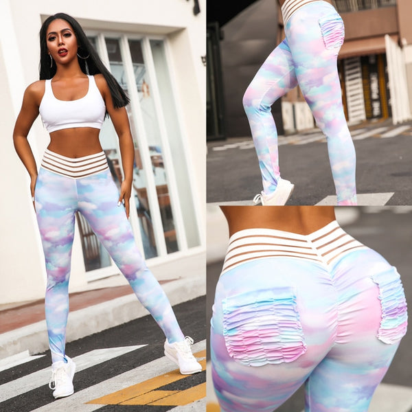 2019 New Women Sexy Stripe Waist Floral Yoga Leggings with Pocket - CTHOPER