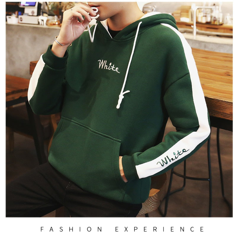 Men Fashion Embroidery Plus Size Pullover Hoodies Sweatshirt - CTHOPER