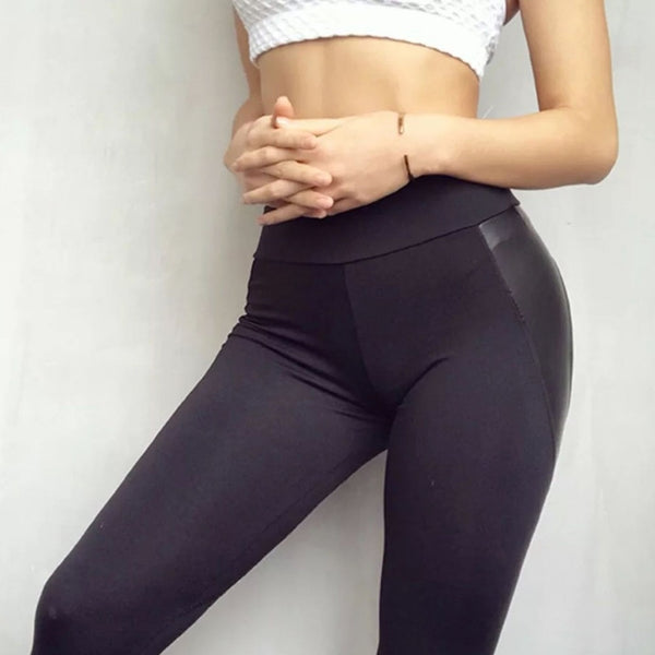 Women PU Leather Black Heart Shape Booty Sport Pants - CTHOPER