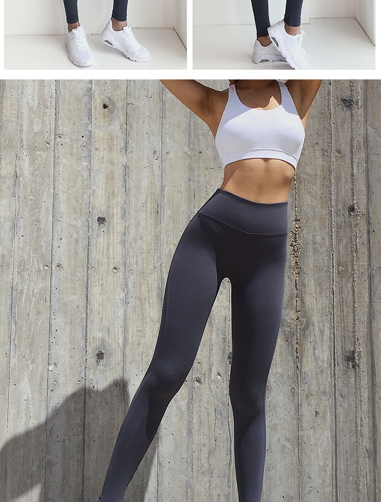 Women's Sexy Booty High Waist Nylon Scrunch Butt Yoga Leggings - CTHOPER