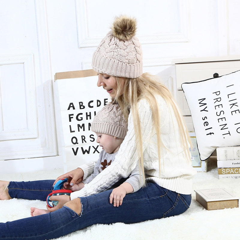 2Pcs Mom Baby Fur Pompom Warm Winter Crochet Knit Wool Solid Color Beanie Caps - CTHOPER
